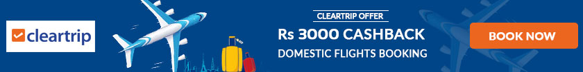 Rs 3000 Cashback ClearTrip Coupon Code
