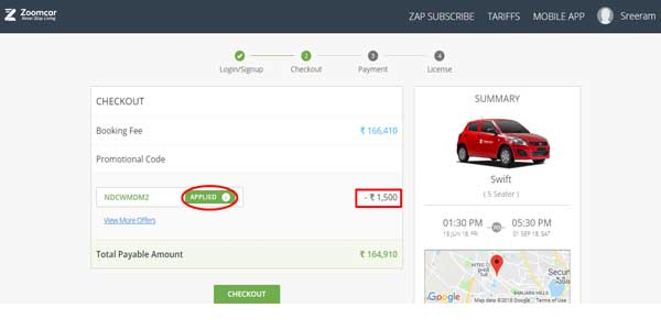 zoomcar car rental offers