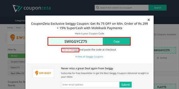 Swiggy coupons
